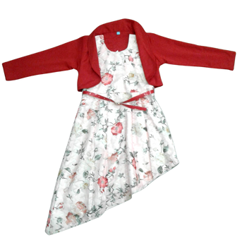 "Girls Dress  "" Red flower   """