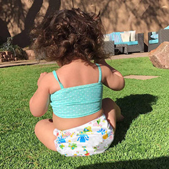 Swim Cloth Diapers Reusable Adjustable for 3m-12 Months (Pack of 2) - Animals
