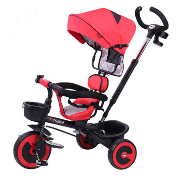 Tricycle Children 3 Wheeler Baby Carriage 1-3-5 Years Old Pedal Ride-On Bike Stroller Steering Trike with Parent Push Handle Toddler Bicycles