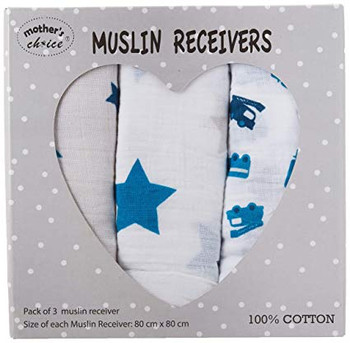 Muslin Swaddle Wrap (Pack of 3, White)
