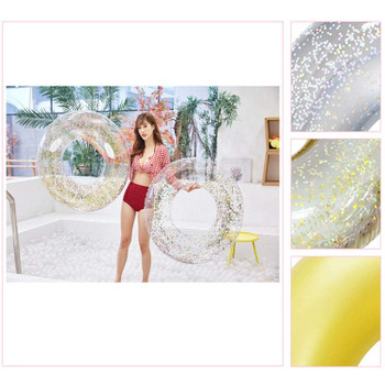 Sequin Pool Float Inflatable Swimming Pool Crystal Shiny Swim Ring 90Cm Adult Pool Tube Circle for Swimming Pool Toys,Gold