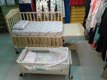 Wooden Baby Crib dark cream