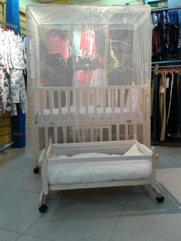 Wooden Baby Crib light cream