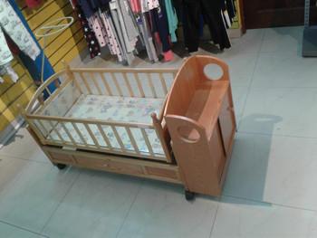Wooden Baby Crib dark  cream ( small size )