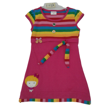 Girls Frock  red& yellow