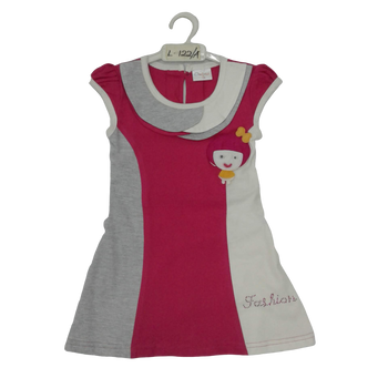 Girls Frock  red/grey