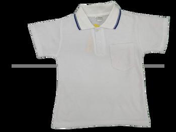 White polo with blue stripe
