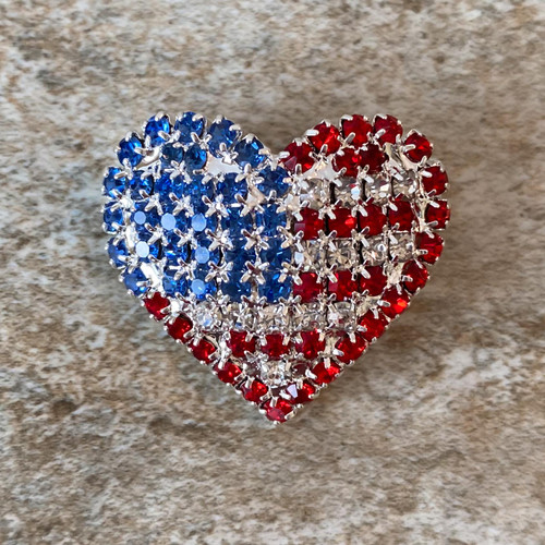 Flag Heart Brooch Pin