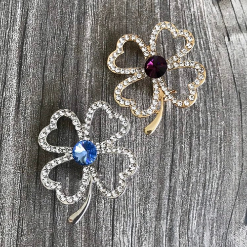 Lucky Shamrock Brooch, 25 colors, Silver or Gold