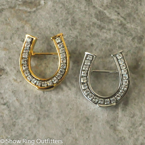 Small Horseshoe Brooch Pin, Gold or Silver