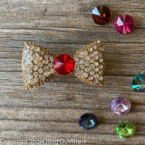 NEW! Gold Rhinestone Bun Bow, 25 classic colors