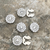 Silver Vest/Suit Button Covers, set of 5