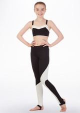 Bloch Two-Tone Crop-Top fur Teens Schwarz vorn. [Schwarz]