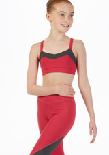 Bloch Two-Tone Crop-Top fur Teens Rosa vorn. [Rosa]