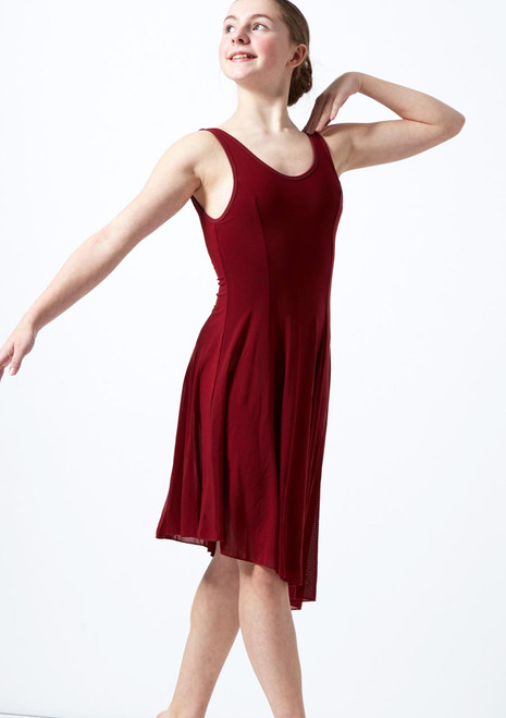 Move Dance Cordelia Lyrical-Kleid mit Scoop-Ausschnitt fur Teens Rot vorn. [Rot]