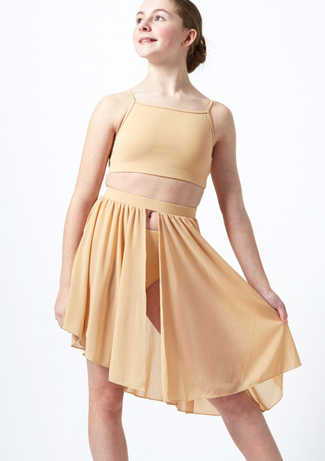 Move Dance Erin asymmetrischer Lyrical-Halbrock fur Teens Tan vorn. [Tan]