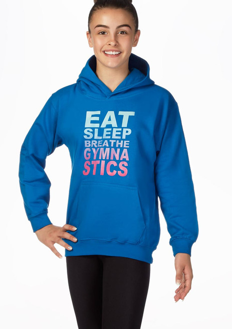 Elite Eat Sleep Breathe Gymnastics Hoodie Blau vorn. [Blau]