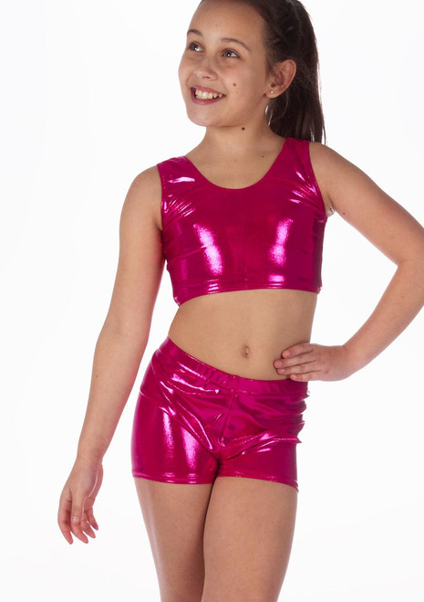 Alegra Madchen Tanz-Crop-Top Betty in Metallic Rosa vorn. [Rosa]