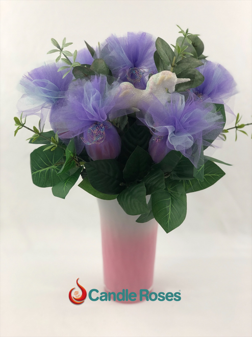 Purple Candle Roses® in a pink vase