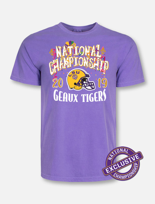 "Comfort Colors LSU National Champion ""Confetti"" T-Shirt In Purple"