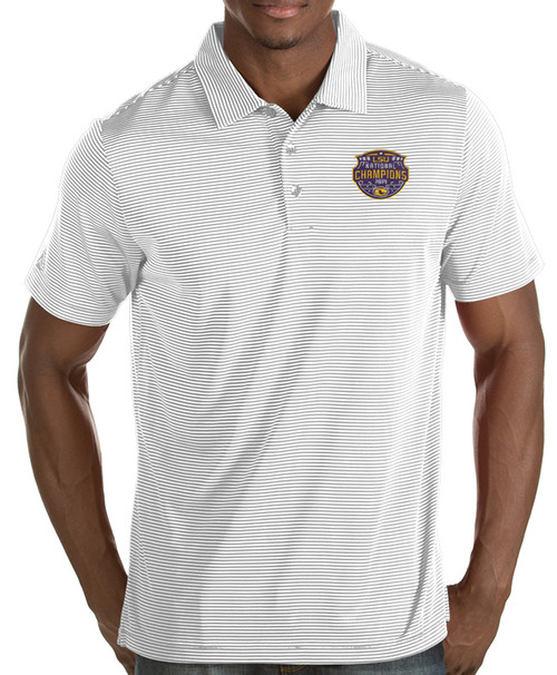"Antigua LSU National Champion Men's ""Quest"" Striped Polo  In White & Silver"