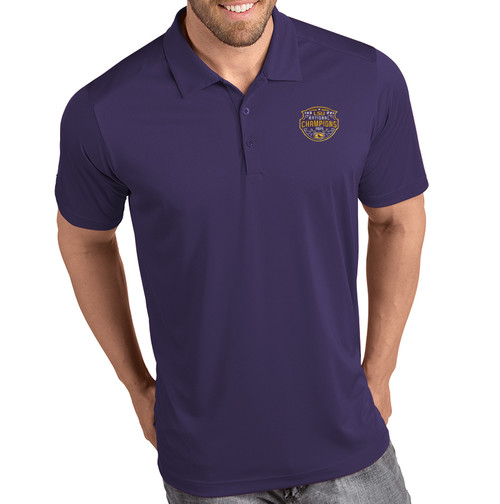 "Antigua LSU National Champion Men's ""Tribute"" Polo  In Purple"