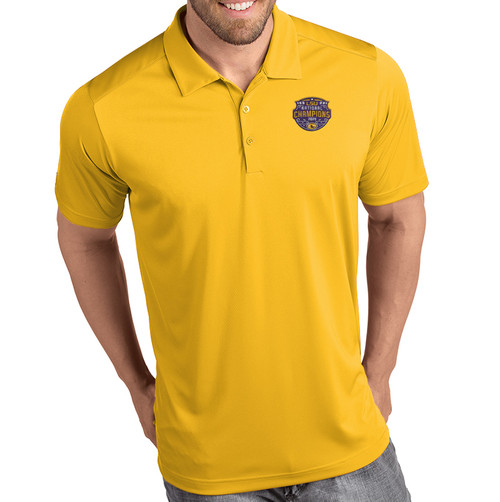 "Antigua LSU National Champion Men's ""Tribute"" Polo  In Gold"