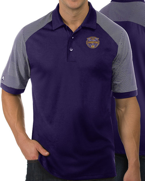 "Antigua LSU National Champion Men's  ""Engage"" Polo  In Purple & White"