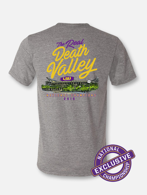 "LSU National Champion ""The Real Death Valley"" T-Shirt In Heather Grey"