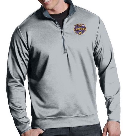 "Antigua LSU National Champion Men's ""Leader"" Quarter-Zip Pullover In Steel"