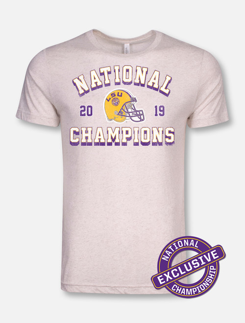 "LSU National Champion ""Vintage Helmet"" T-Shirt In Oatmeal"