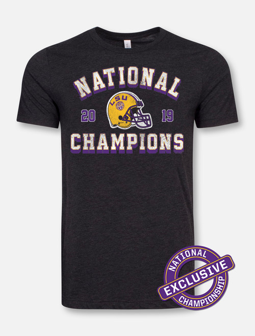 "LSU National Champion ""Vintage Helmet"" T-Shirt In Heather Black"