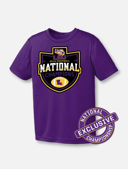 "LSU National Champion ""Badge of Honor"" YOUTH T-shirt In Purple"