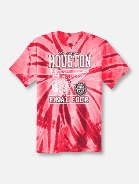 """Houston Cougars Final Four """"In The Paint"""" Red Tie-Dye T-shirt"""