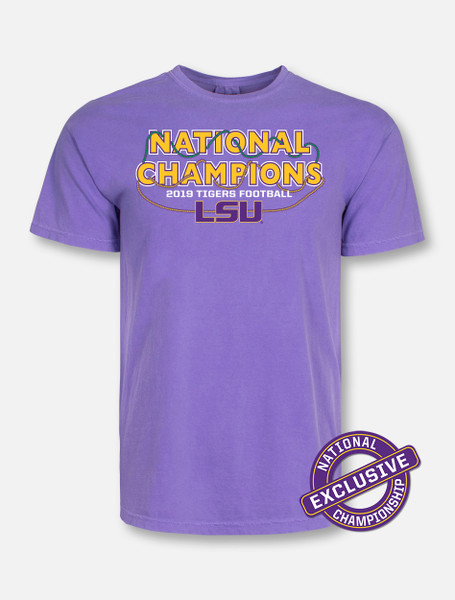 "Comfort Colors LSU National Champion ""Bourbon Street"" T-Shirt In Purple"