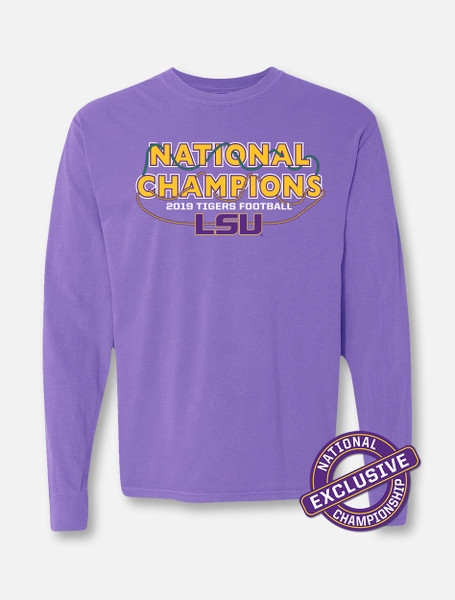 "Comfort Colors LSU National Champion ""Bourbon Street"" Long Sleeve T-Shirt In Purple"