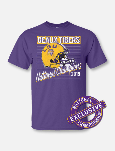 """LSU National Champion """"Throwback O Line"""" T-Shirt In Purple"""