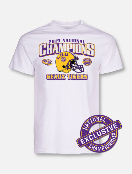 "LSU National Champion ""Geaux Tigers"" T-Shirt In White"