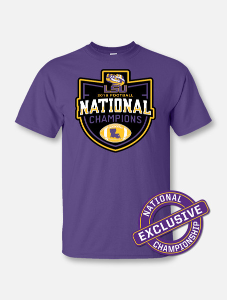 "LSU National Champion ""Badge Of Honor"" T-Shirt In Purple"