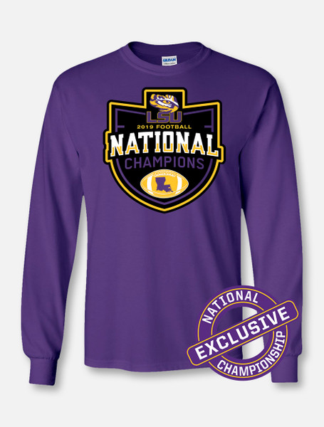 """LSU National Champion """"Badge Of Honor"""" Long-Sleeve T-Shirt In Purple"""