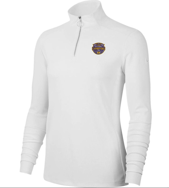 """Nike LSU National Champion Women's """"Victory""""  Quarter-Zip Pullover Jacket In White"""