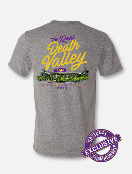 """LSU National Champion """"The Real Death Valley"""" T-Shirt In Heather Grey"""
