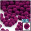 Acrylic Pom Pom, 12mm, 100-pc, Fuchsia