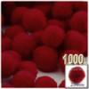 Acrylic Pom Pom, 25mm, 1,000-pc, Dark Red