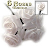 Artificial Flowers, Ribbon Roses, 1.0-inch, Cream, 1 bundle