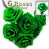 Artificial Flowers, Ribbon Roses, 1.0-inch, Bright Green