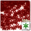 Starflake bead, SnowFlake, Cartwheel, Transparent, 12mm, 100-pc, Raspberry Red