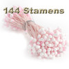 Pearl Stamen, Two Tone, Vintage, 3mm, 144-pc, Light Pink with White tip