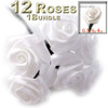 Artificial Flowers, Ribbon Roses, 0.50-inch, Green stem, White