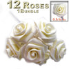 Artificial Flowers, Ribbon Roses, 0.50-inch, Cream